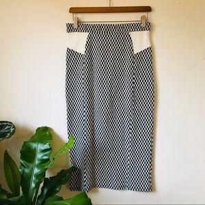 Maeve Checkered Midi Pencil Skirt